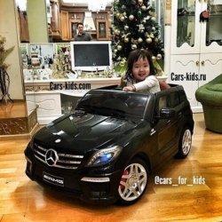 Электромобиль Mercedes-Benz ML 63 AMG черный (резиновые колеса, кожа, пульт, музыка, ГЛЯНЦЕВАЯ ПОКРАСКА)