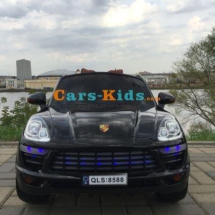 Электромобиль Porsche Cayenne черный (резиновые колеса, кресло кожа, пульт, музыка)